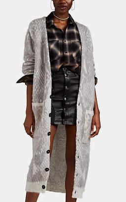 Amiri Women's Python-Pattern Cashmere-Wool Long Cardigan - Light Gray