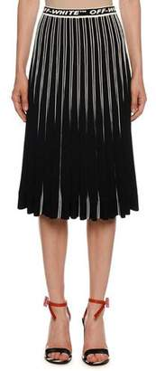 Off-White Colorblocked Plisse Midi Skirt, Black