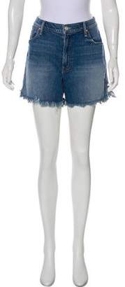 Mother Distressed High-Rise Shorts