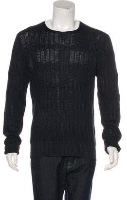John Varvatos Leather-Trimmed Linen Sweater w/ Tags