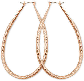 GUESS Gold-Tone Wire-Wrapped Teardrop Hoop Earrings