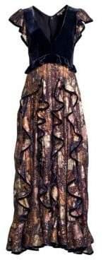 Rebecca Taylor Velvet Plunging Ruffle Dress