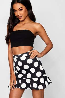 boohoo Polka Dot Drop Hem Mini Skater Skirt