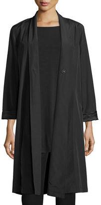 Eileen Fisher Organic-Cotton/Nylon A-line Knee-Length Jacket, Plus Size $288 thestylecure.com