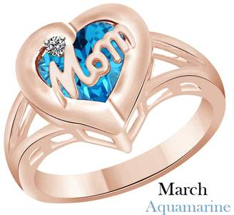 AFFY Simulated Aquamarine & Cubic Zirconia Mom Heart Promise Ring in 14k Over Sterling Silver