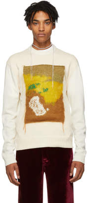Acne Studios White and Yellow Applique Crewneck Sweater