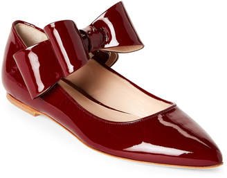 Polly Plume Burgundy Bonnie Bow Patent Leather Ballet Flats