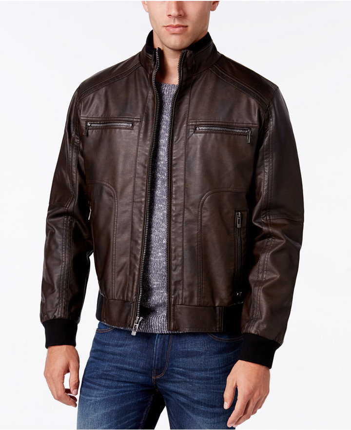 Calvin Klein Men's Faux-Leather Stand-Collar Bomber Jacket