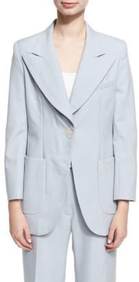 ALEXACHUNG Alexa Chung Single Breasted Wool Jacket, Blue