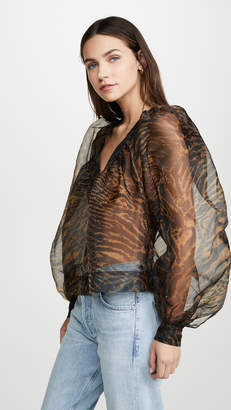 Ganni Printed Organza Top