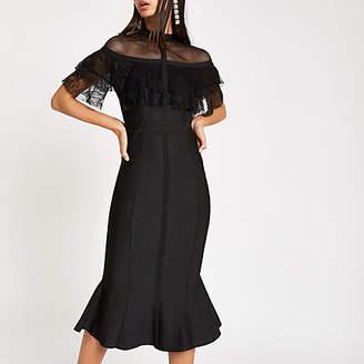 River Island Womens Forever Unique Black lace bodycon dress