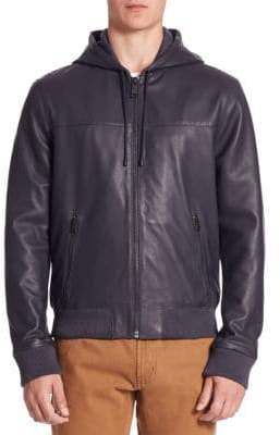 Saks Fifth Avenue MODERN Zip-Front Hooded Leather Jacket