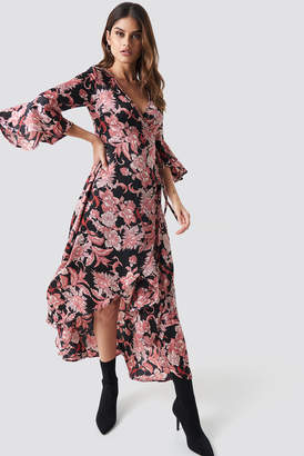 Glamorous Wrap Maxi Print Dress Black Pink