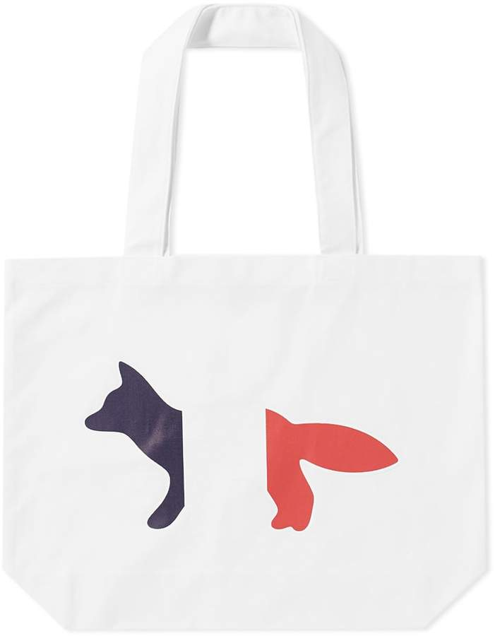 Maison Kitsune Tricolour Fox Tote Bag