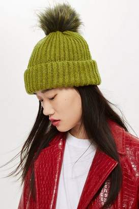 Topshop Womens Knitted Faux Fur Pom Hat