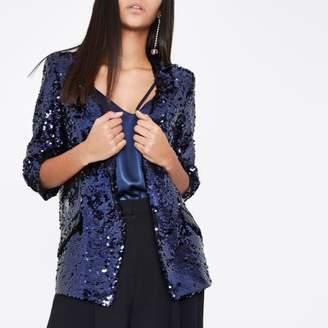 River Island Womens Dark purple sequin embellished blazer