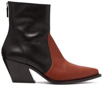 Givenchy Leather Cowboy Ankle Boots - Womens - Black Brown