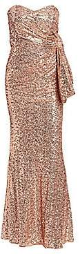 Badgley Mischka Women's Sequin Bow Back Strapless Gown