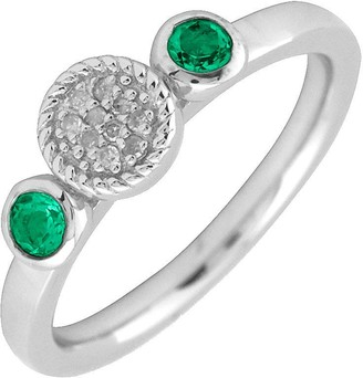 Simply Stacks Sterling & Double Round Emerald Diamond Ring