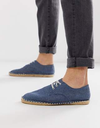 Asos Design DESIGN lace up espadrilles in blue denim chambray