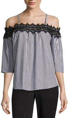 BY AND BY by&by Womens Square Neck 3/4 Sleeve Poplin Lace Blouse-Juniors