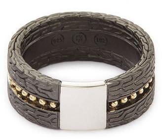 John Hardy 'Classic Chain' rhodium silver 18k yellow gold Jawan ring