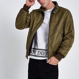 River Island Dark green racer neck jacket
