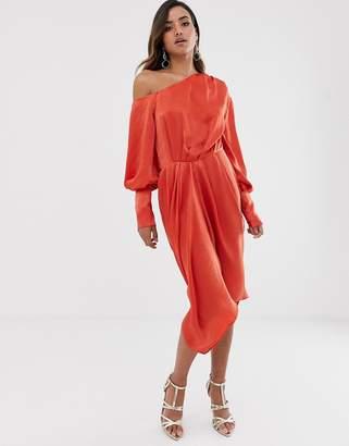 Asos Design DESIGN one shoulder blouson midi dress in washed satin