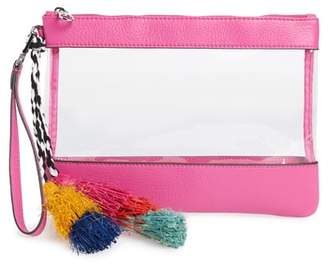 Vince Camuto Thore Clear Tassel Wristlet Clutch