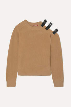 Altuzarra Cutout Leather-trimmed Wool And Cashmere-blend Sweater - Camel
