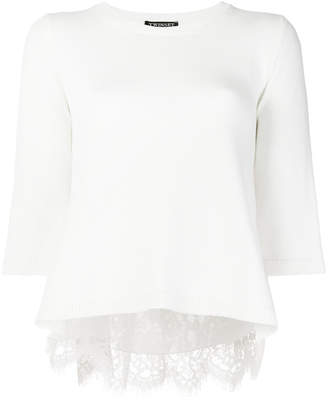 Twin-Set lace-embroidered flared sweater