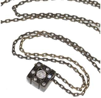 Damiani Black Coated 18K White Gold with Diamond Belle Epoque Cross Necklace
