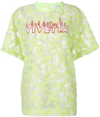 VIVETTA logo embroidered sheer Pallene top
