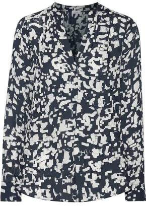 Vince Printed Silk-Georgette Top