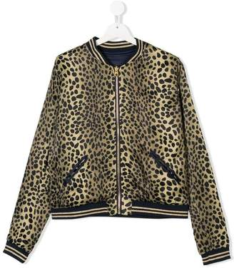 Little Marc Jacobs TEEN leopard print reversible bomber jacket