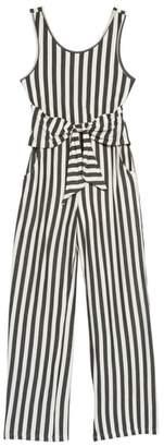 Truly Me Stripe Tie Front Knit Jumpsuit