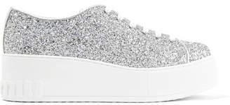 Miu Miu Glittered Leather Platform Sneakers - Silver