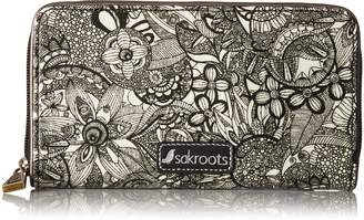 Sakroots Large Zip Around Wallet Wallet, Black and White Spirit Desert