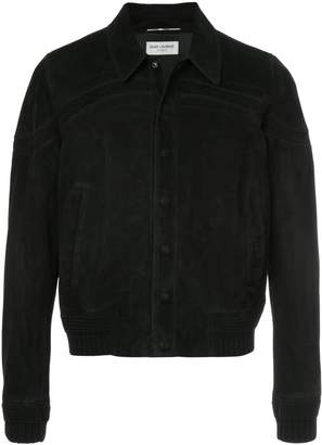 Saint Laurent cut-out panel suede jacket
