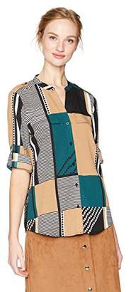 Calvin Klein Women's Print Roll Sleeve Top