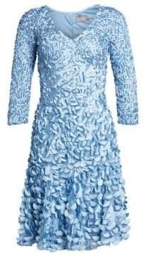 Theia Women's Embellished Satin Petal Dress - Sky Blue - Size 2