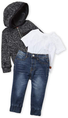 7 For All Mankind Infant Boys) 3-Piece Hoodie and Jeans Set