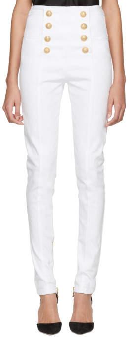 White Eight-button Skinny Jeans