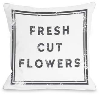 One Bella Casa Fresh Cut Flowers - White 18x18 Pillow by OBC
