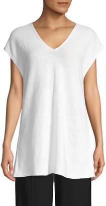 Eileen Fisher V-Neck Cap Sleeve Tunic Shirt