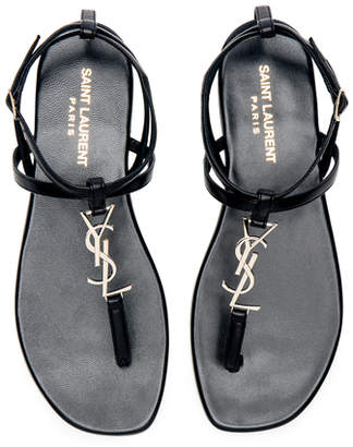 Saint Laurent Leather Nu Pieds Slingback Sandals