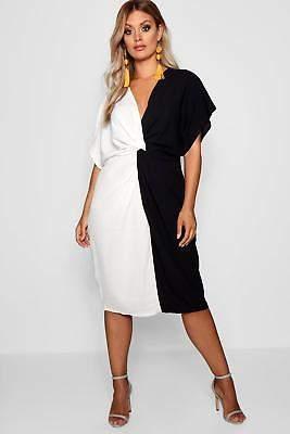 boohoo NEW Womens Plus Plunge Colour Block Twist Front Midi Dress in Black size
