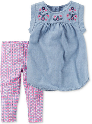 Carter's 2-Pc. Embroidered Chambray Top & Capri Leggings Set, Baby Girls (0-24 months) $24 thestylecure.com