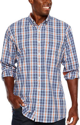 Izod Tall Slim Premium Essential Woven-Plaid Long Sleeve