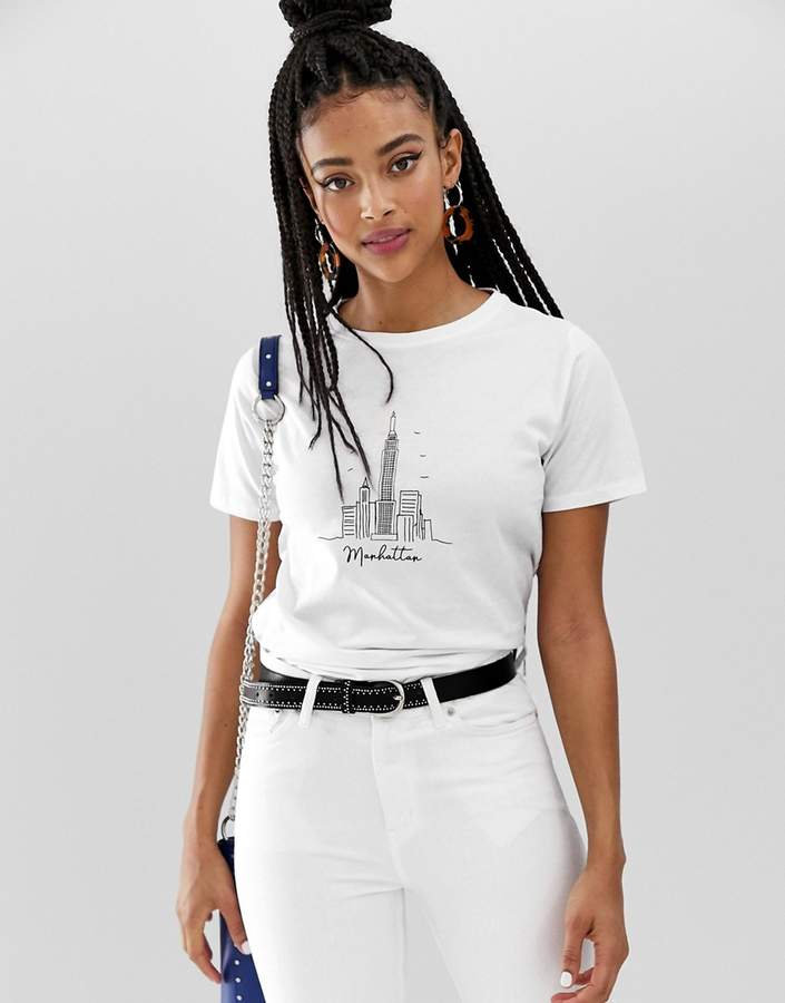 New Look new york skyline tee in white